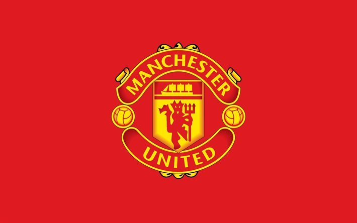 Download Wallpapers Manchester United, 4k, Logo, Red