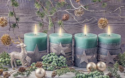 Merry Christmas, 2018, New Year, green candles, decoration, deer, Christmas, Xmas