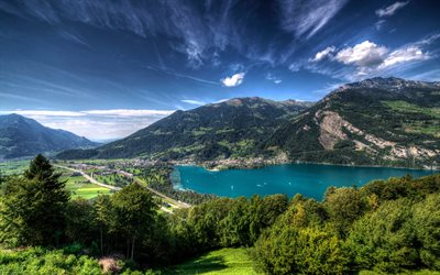 Lake Walensee, mountain lake, Alps, mountain landscape, Switzerland