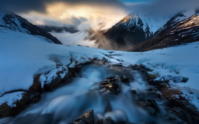 mountain river, snow, winter, evening, sunset, mountain landscape