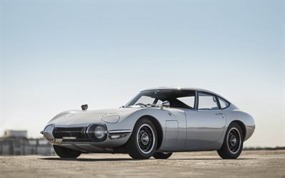 Toyota 2000GT, 1968, retro sports coupe, silver classic car, Silver 2000GT, Toyota