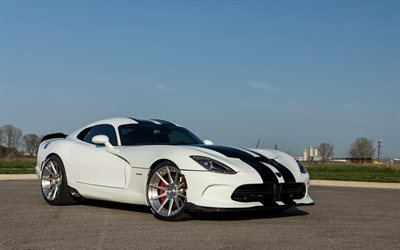 Dodge Viper, white sports coupe, white Viper, american sports car, Dodge