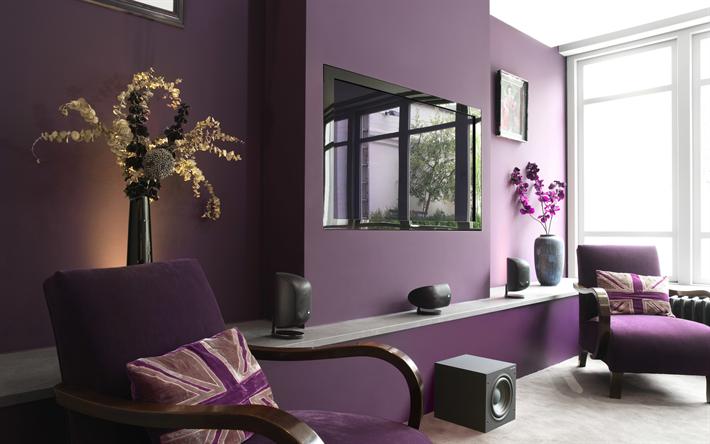 4k, Living Room, Purple Room, Modern Apartment, Purple Armchairs, Modern  Design