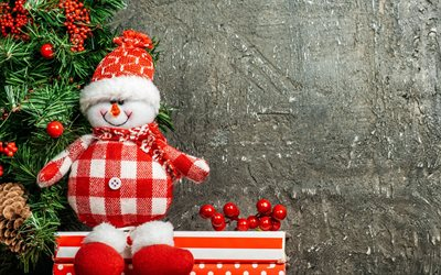 Snowman, Christmas tree, toy, gray wall, New Year, winter