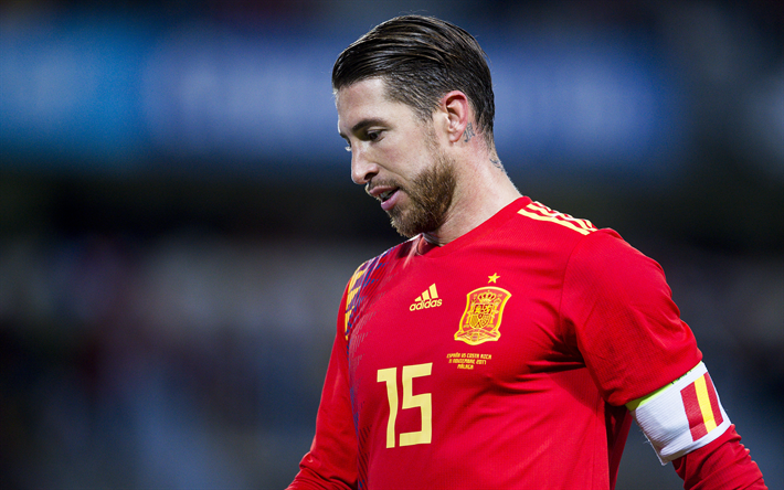 Download wallpapers Sergio Ramos, 4k, footballers, Spanish National Team, soccer, football for