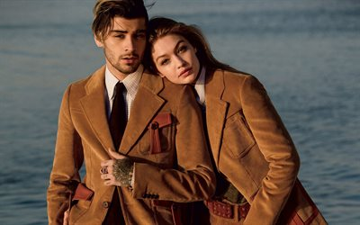 Gigi Hadid, Zayn Malik, photoshoot, brown corduroy jackets, fashion models