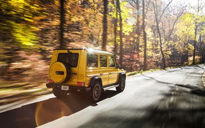 Mercedes-Benz G63 AMG, 2017, tuning G-Class, Colour Edition, yellow SUV, German cars, road, speed, Mercedes