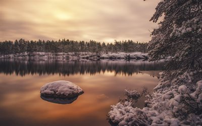 winter, snow, lake, sunset, Finland, winter landscape, forest