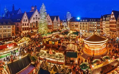 Frankfurt am Main, Christmas market, people, shops, evening, Christmas tree, Germany