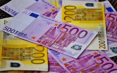 euro banknotes, euro currency, money background, 500 euro, 200 euro, finance, motion blur, european currency