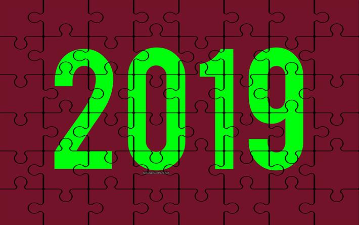 Indir Duvar Kağıdı 2019 Mor Bulmaca Arka Plan Mutlu Yeni Yıl 2019