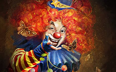 clown with butterflies, artwork, smiling clown, ginger clown, creative, clowns