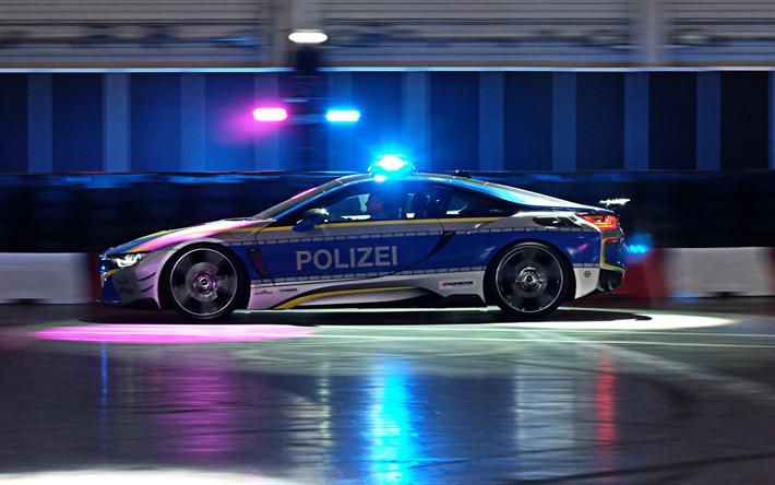 Download Wallpapers Bmw I8 2018 Police Car Blue Lights German