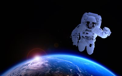 astronaut in space, galaxy, sparks, sci-fi, universe, Earth from space, flying astronaut