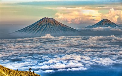 Mount Merapi, HDR, mountains, stratovolcano, Java, Indonesia