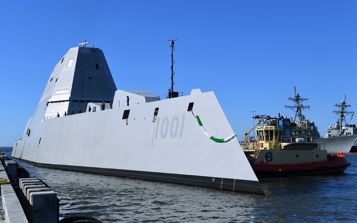 USS Michael Monsoor, DDG 1001, guided missile destroyer, Zumwalt class, modern American warship, US Navy, USA