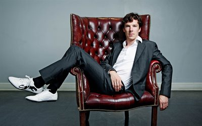 Benedict Cumberbatch, English actor, photo shoot, gray suit, british actor