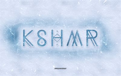 KSHMR logo, winter concepts, snow texture, snow background, KSHMR emblem, winter art, KSHMR, Niles Hollowell-Dhar, indo american dj