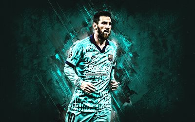 Lionel Messi, Argentine football player, turquoise stone background, FC Barcelona, football, Leo Messi, best football player 2019, Spain, Catalonia