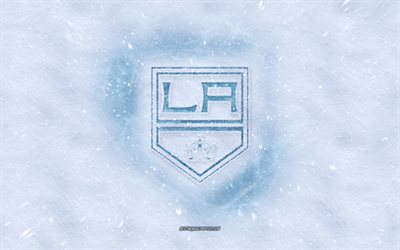 Los Angeles Kings logotipo, Americana de hóquei clube, inverno conceitos, NHL, Los Angeles Kings gelo logotipo, neve textura, Los Angeles, EUA, neve de fundo, Los Angeles Kings, hóquei