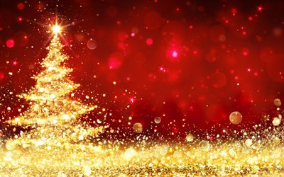 Red christmas background, Gold glitter christmas tree, Happy New Year, Christmas, golden background