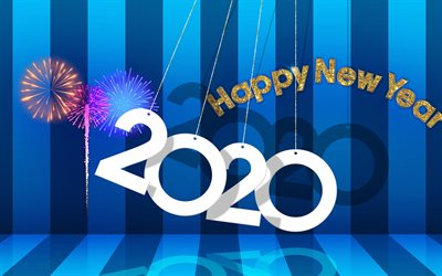 Happy New Year 2020, Blue 2020 background, lines, fireworks, 2020 concepts, 2020 New Year