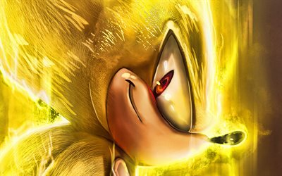 Yellow Sonic, 4k, Sonic The Hedgehog, poster, 2020 movie, Sonic