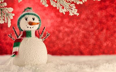 snowman, 4k, christmas decorations, winter, xmas backgrounds, christmas concepts, happy new year, snowmen, xmas decorations, background with snowman