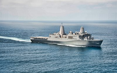 4k, USS Anchorage, LPD-23, sea, amphibious transport dock, United States Navy, US army, battleship, US Navy, San Antonio-class, USS Anchorage LPD-23