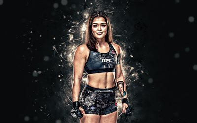 Tracy Cortez, 4k, white neon lights, American fighters, MMA, UFC, female fighters, Mixed martial arts, Tracy Cortez 4K, UFC fighters, MMA fighters