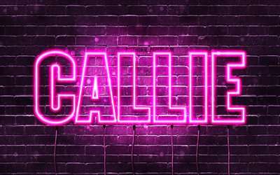 Callie, 4k, wallpapers with names, female names, Callie name, purple neon lights, horizontal text, picture with Callie name