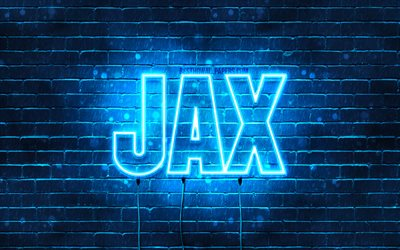 Jax, 4k, wallpapers with names, horizontal text, Jax name, blue neon lights, picture with Jax name