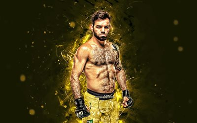 Bruno Silva, 4k, yellow neon lights, Brazilian fighters, MMA, UFC, female fighters, Mixed martial arts, Bruno Silva 4K, UFC fighters, MMA fighters, Blindado