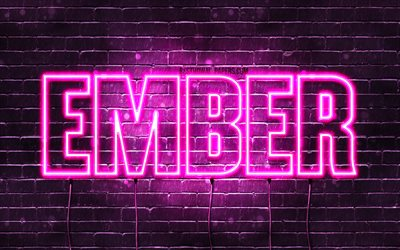 Ember, 4k, wallpapers with names, female names, Ember name, purple neon lights, horizontal text, picture with Ember name