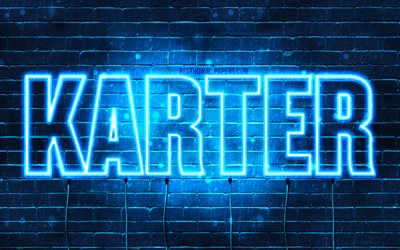 Karter, 4k, wallpapers with names, horizontal text, Karter name, blue neon lights, picture with Karter name