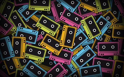colorful cassettes, creative, music backgrounds, cassettes, retro cassettes, cassettes patterns