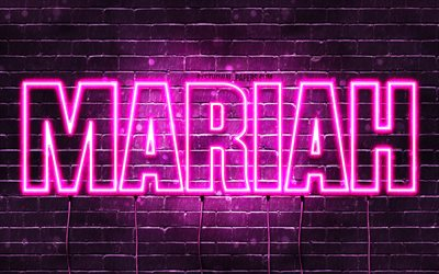 Mariah, 4k, wallpapers with names, female names, Mariah name, purple neon lights, horizontal text, picture with Mariah name