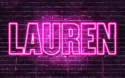 Lauren, 4k, wallpapers with names, female names, Lauren name, purple neon lights, horizontal text, picture with Lauren name