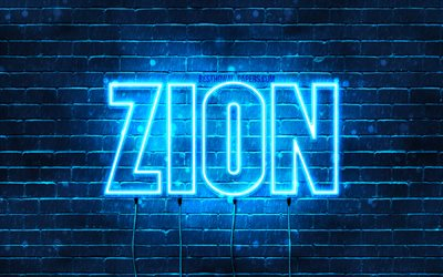 Zion, 4k, wallpapers with names, horizontal text, Zion name, blue neon lights, picture with Zion name