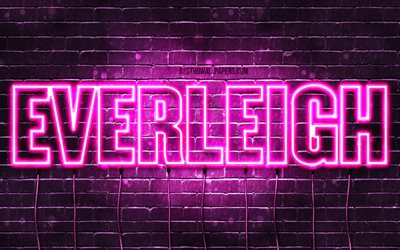 Everleigh, 4k, wallpapers with names, female names, Everleigh name, purple neon lights, horizontal text, picture with Everleigh name