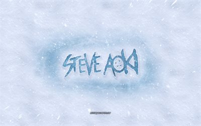 Steve Aoki logo, winter concepts, american dj, snow texture, snow background, Steve Aoki emblem, winter art, Steve Aoki