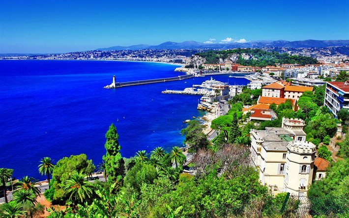 Nice, harbor, sea, coast, summer, France