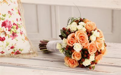 roses, wedding bouquet, orange roses, rose bouquet, bridal bouquet