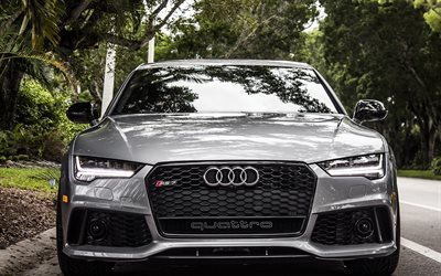 Audi RS7 Sportback, road, supercars, fron view, gray rs7, Audi