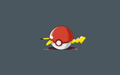 Pikachu, 4k, pokeball, 2018 games, minimal, Pokemon Go
