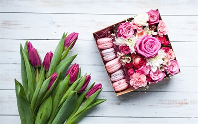 Purple tulips, March 8, gift, congratulations, macaroons, pink roses, spring holidays