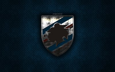 UC Sampdoria, Italian football club, blue metal texture, metal logo, emblem, Genoa, Italy, Serie A, creative art, football