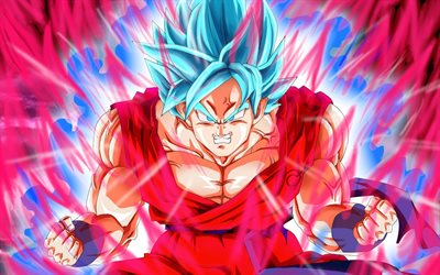 4k, Son Goku, fire flames, Super Saiyan Blue, 2019, DBS characters, artwork, DBS, Super Saiyan God, anger goku, Dragon Ball Super, manga, Dragon Ball, Goku