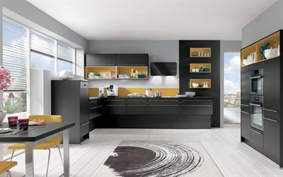 modern kitchen design, stylish modern interior, black stylish kitchen furniture, black kitchen, stylish design