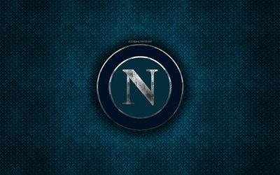 SSC Napoli, Italian football club, blue metal texture, metal logo, emblem, Naples, Italy, Serie A, creative art, football